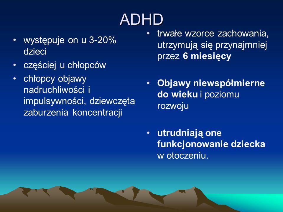 ADHD trwałe wzorce zachowania, utrzymują się przynajmniej przez 6 miesięcy. Objawy niewspółmierne do wieku i poziomu rozwoju.
