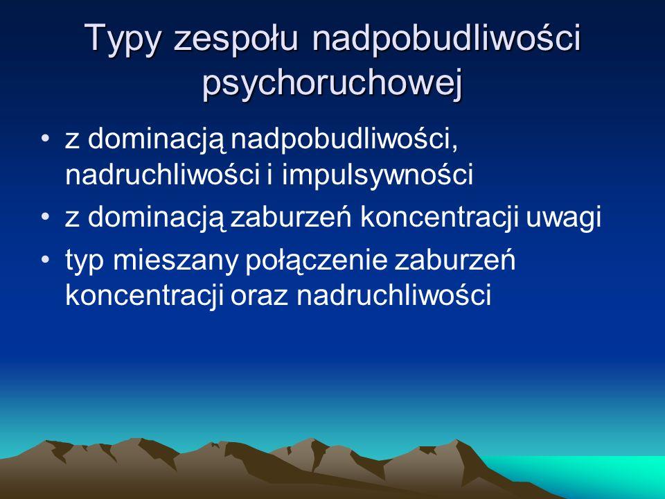 Typy zespołu nadpobudliwości psychoruchowej