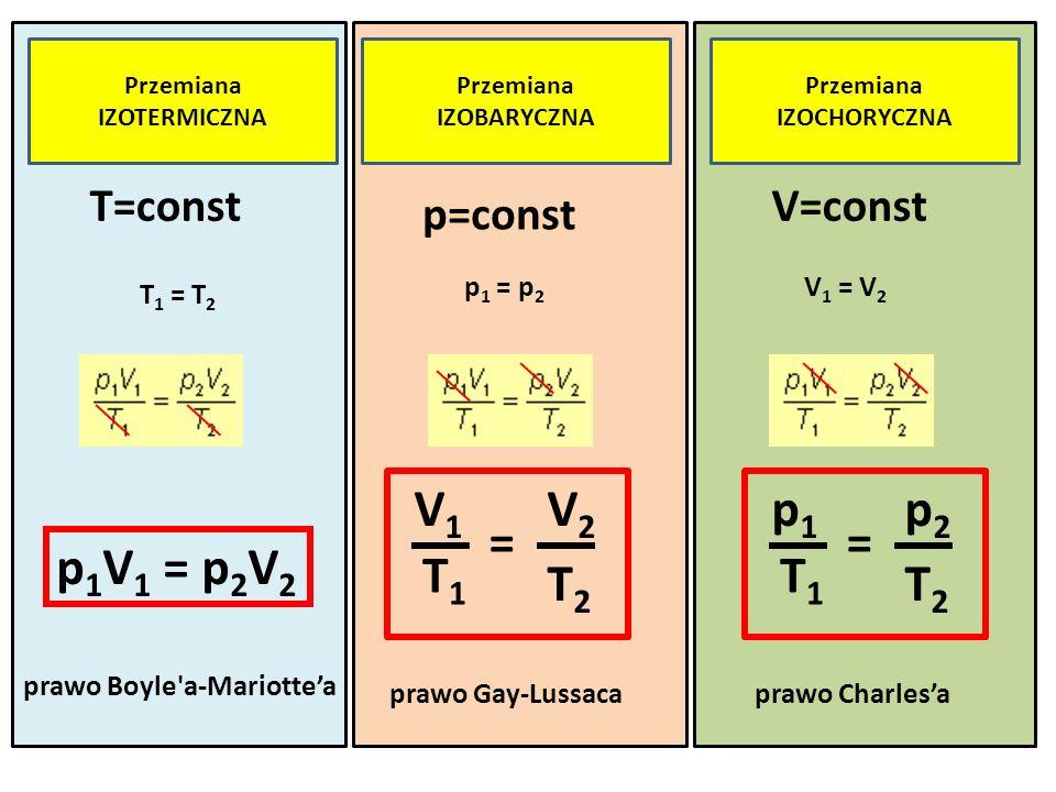 T1 V1 V2 T2 = T1 p1 p2 T2 = p1V1 = p2V2 T=const V=const p=const