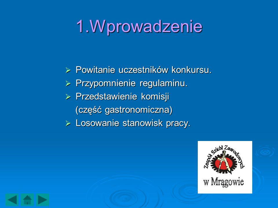 1.Wprowadzenie Powitanie uczestników konkursu.