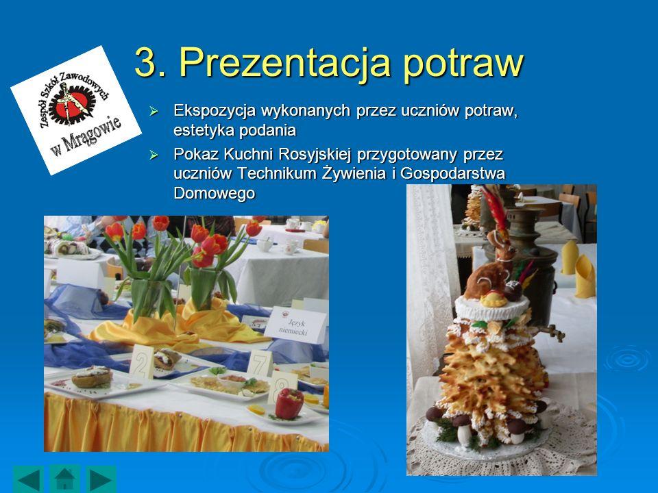 3. Prezentacja potraw Ekspozycja wykonanych przez uczniów potraw, estetyka podania.