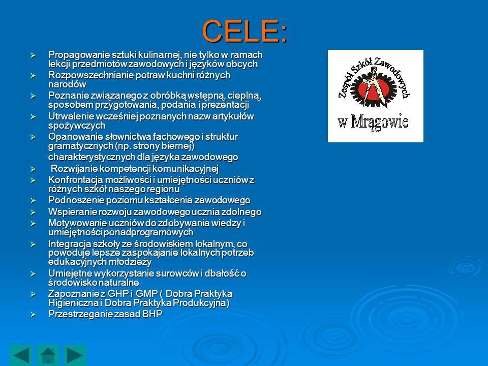 CELE: Propagowanie sztuki kulinarnej, nie tylko w ramach lekcji przedmiotów zawodowych i języków obcych.