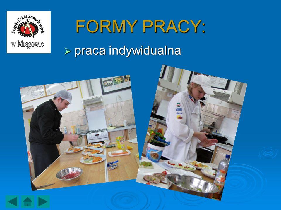 FORMY PRACY: praca indywidualna