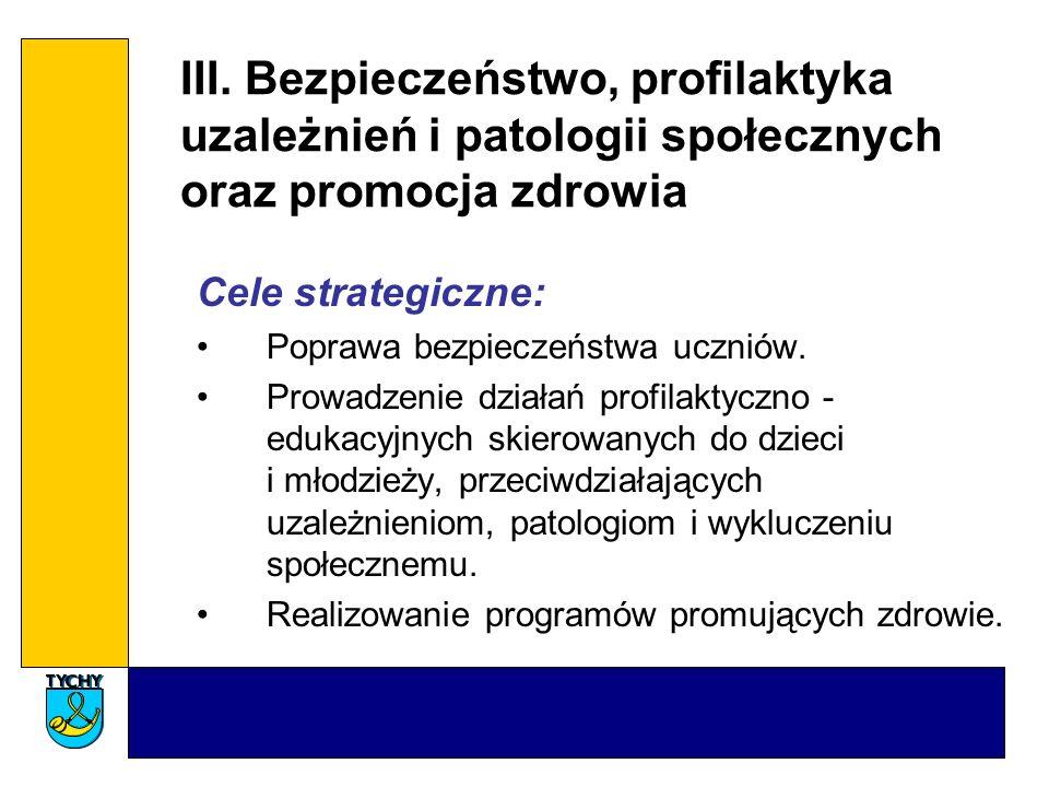 III. Bezpieczeństwo, profilaktyka uzależnień i patologii społecznych oraz promocja zdrowia