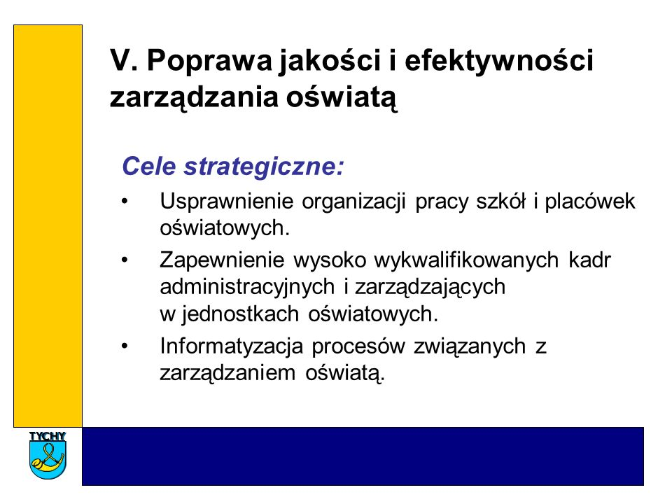 V. Poprawa jakości i efektywności zarządzania oświatą