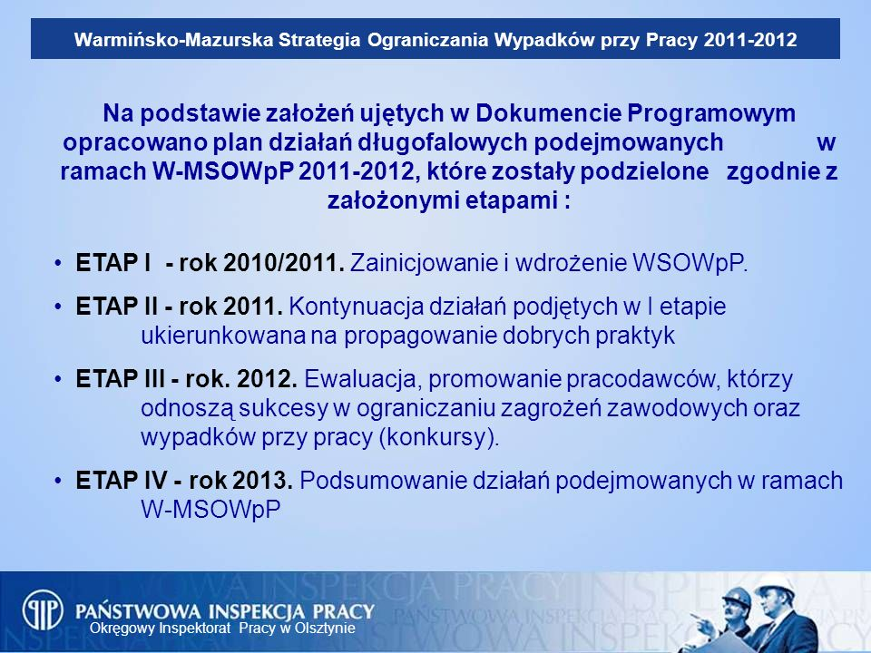 ETAP I - rok 2010/2011. Zainicjowanie i wdrożenie WSOWpP.