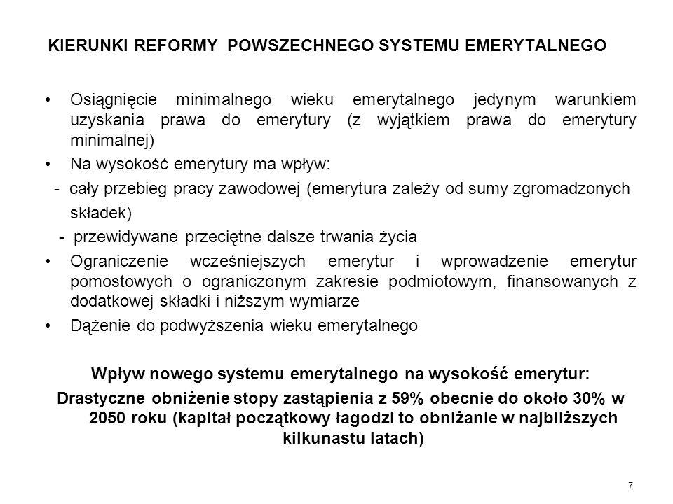 KIERUNKI REFORMY POWSZECHNEGO SYSTEMU EMERYTALNEGO