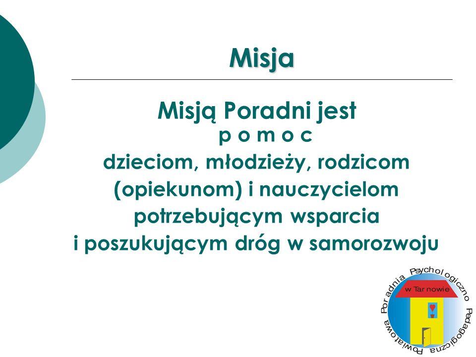 Misja Misją Poradni jest p o m o c dzieciom, młodzieży, rodzicom