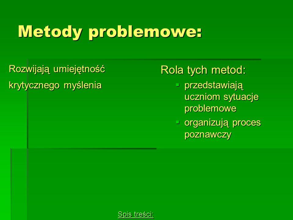Metody problemowe: Rola tych metod: Rozwijają umiejętność