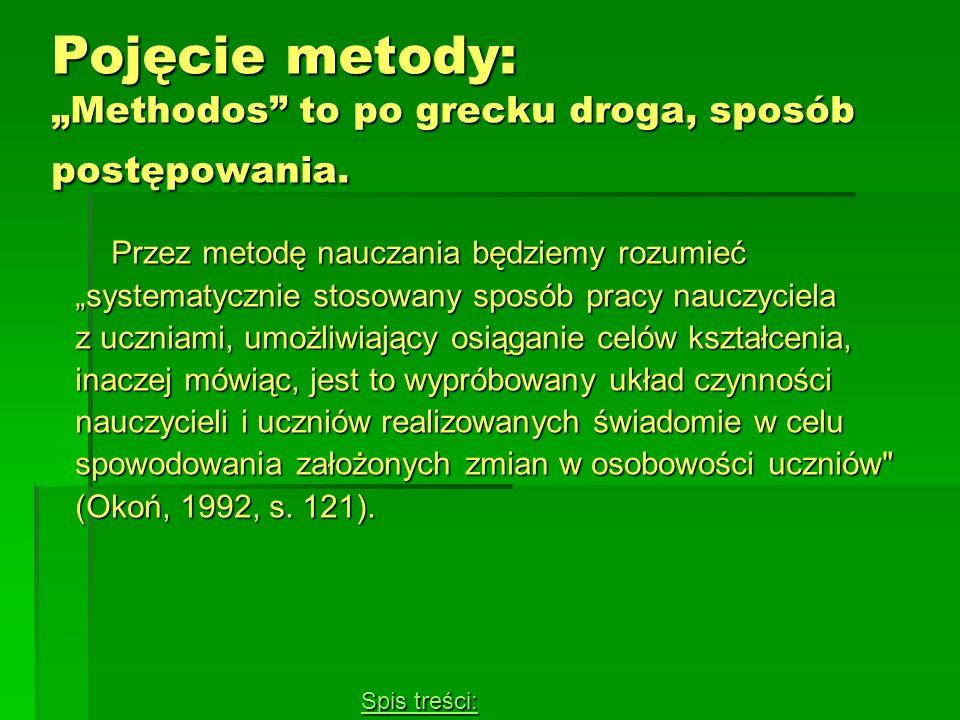 "Pojęcie metody: ""Methodos to po grecku droga, sposób postępowania."