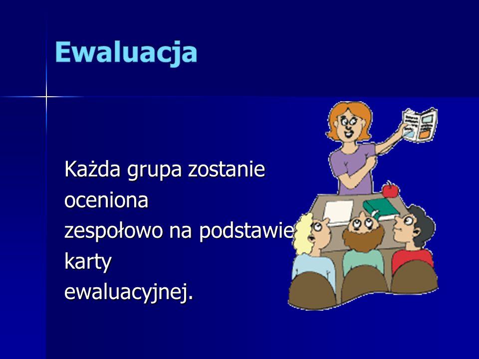 Ewaluacja Każda grupa zostanie oceniona zespołowo na podstawie karty ewaluacyjnej.