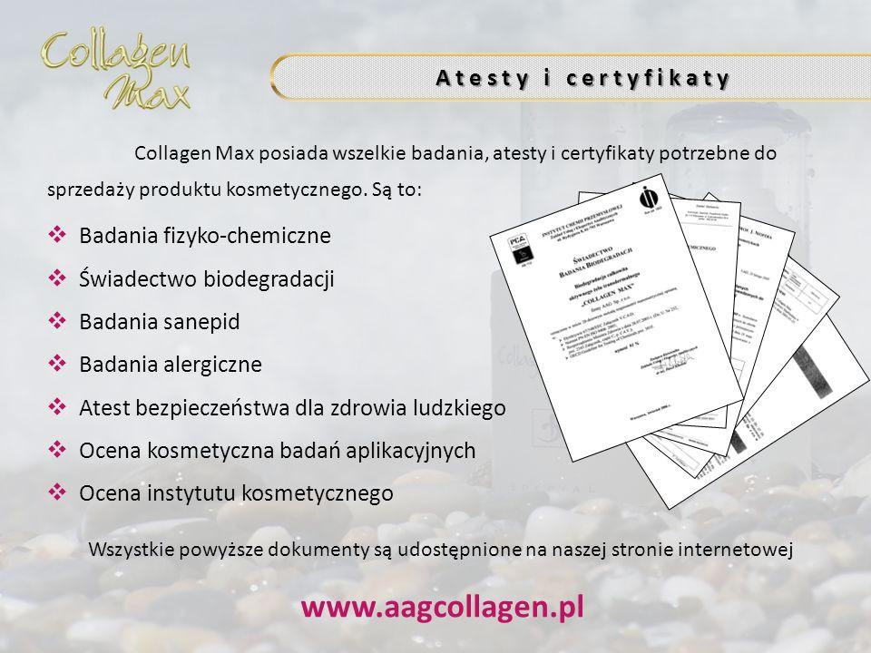 www.aagcollagen.pl A t e s t y i c e r t y f i k a t y