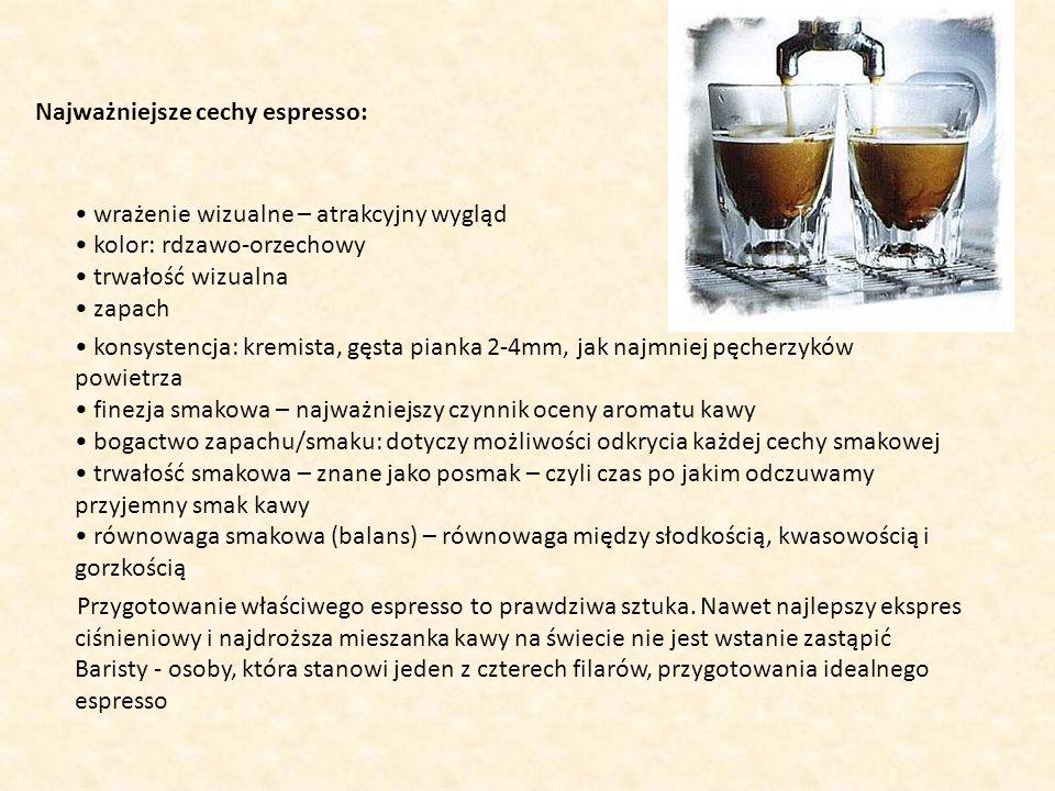 Najważniejsze cechy espresso: • wrażenie wizualne – atrakcyjny wygląd • kolor: rdzawo-orzechowy • trwałość wizualna • zapach • konsystencja: kremista, gęsta pianka 2-4mm, jak najmniej pęcherzyków powietrza • finezja smakowa – najważniejszy czynnik oceny aromatu kawy • bogactwo zapachu/smaku: dotyczy możliwości odkrycia każdej cechy smakowej • trwałość smakowa – znane jako posmak – czyli czas po jakim odczuwamy przyjemny smak kawy • równowaga smakowa (balans) – równowaga między słodkością, kwasowością i gorzkością Przygotowanie właściwego espresso to prawdziwa sztuka.