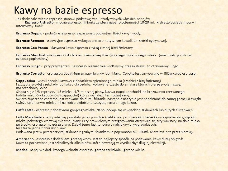 Kawy na bazie espresso
