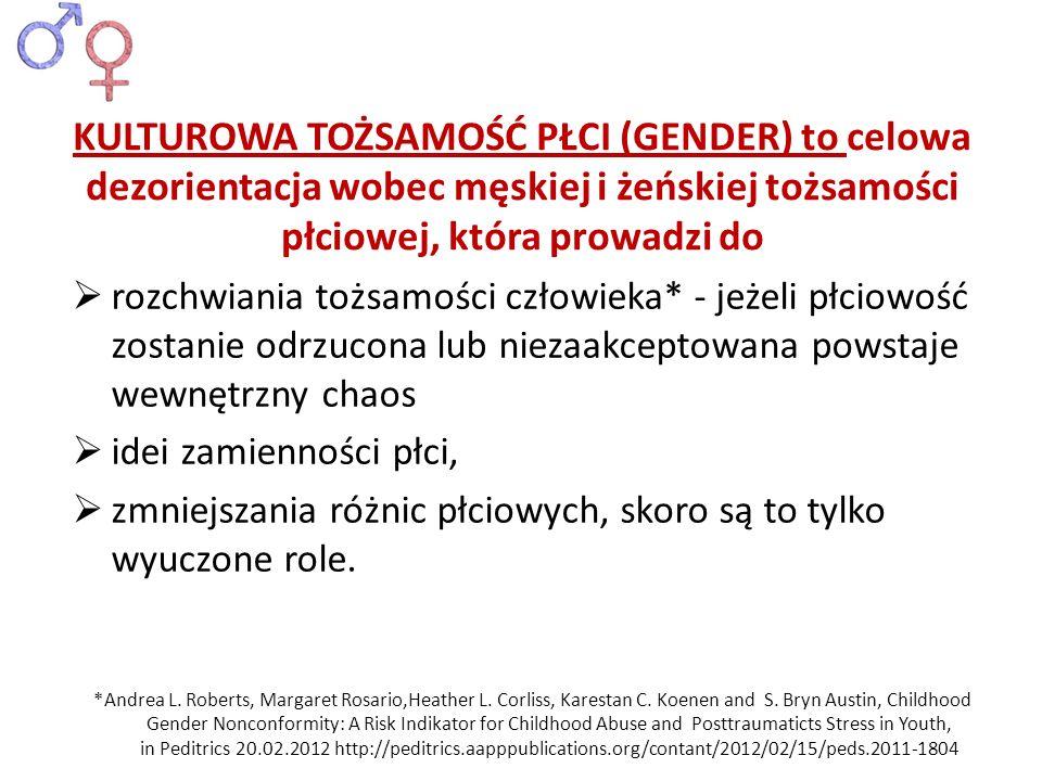 KULTUROWA TOŻSAMOŚĆ PŁCI (GENDER) to celowa dezorientacja wobec męskiej i żeńskiej tożsamości płciowej, która prowadzi do