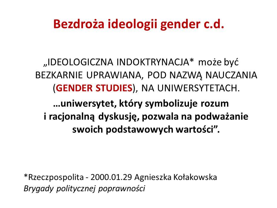 Bezdroża ideologii gender c.d.
