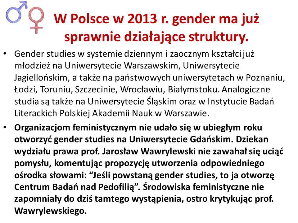 W Polsce w 2013 r. gender ma już sprawnie działające struktury.