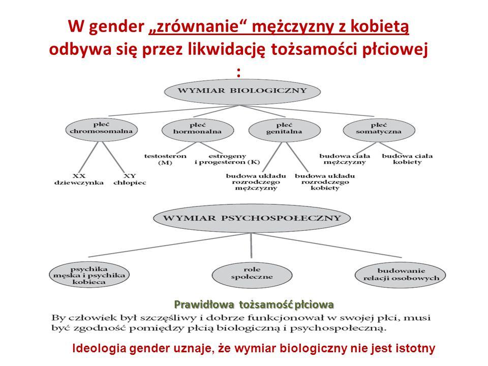 """W gender """"zrównanie mężczyzny z kobietą odbywa się przez likwidację tożsamości płciowej"""