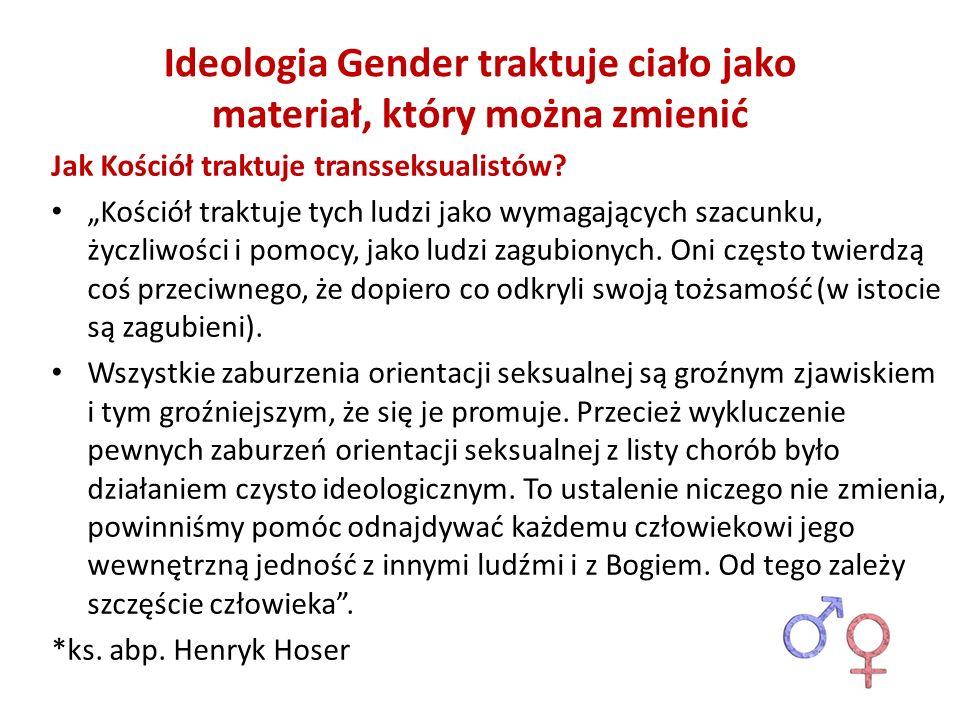 Ideologia Gender traktuje ciało jako materiał, który można zmienić