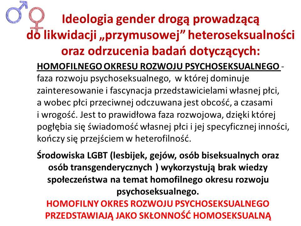 """Ideologia gender drogą prowadzącą do likwidacji """"przymusowej heteroseksualności oraz odrzucenia badań dotyczących:"""