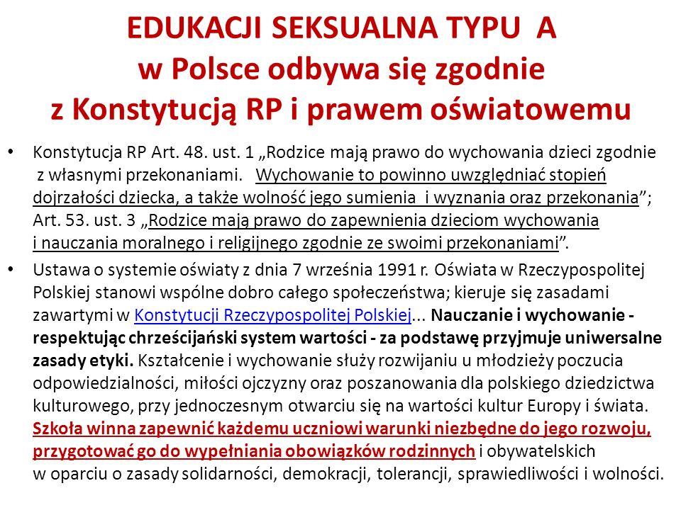 EDUKACJI SEKSUALNA TYPU A w Polsce odbywa się zgodnie z Konstytucją RP i prawem oświatowemu