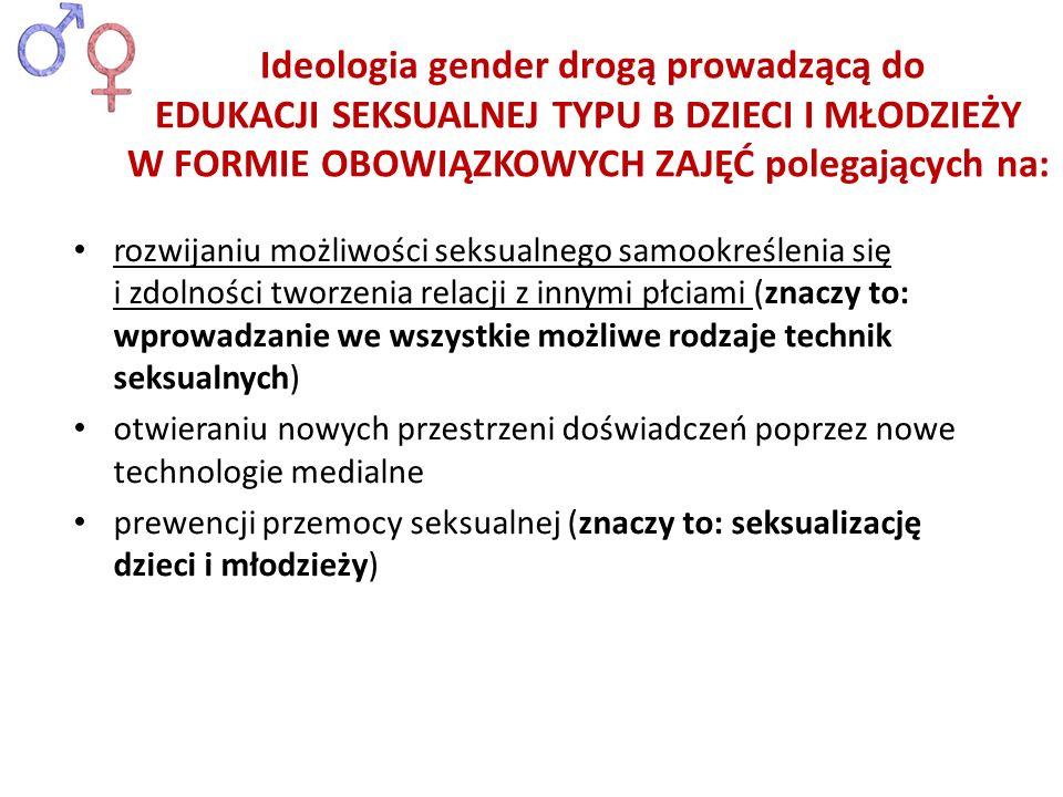 Ideologia gender drogą prowadzącą do EDUKACJI SEKSUALNEJ TYPU B DZIECI I MŁODZIEŻY W FORMIE OBOWIĄZKOWYCH ZAJĘĆ polegających na: