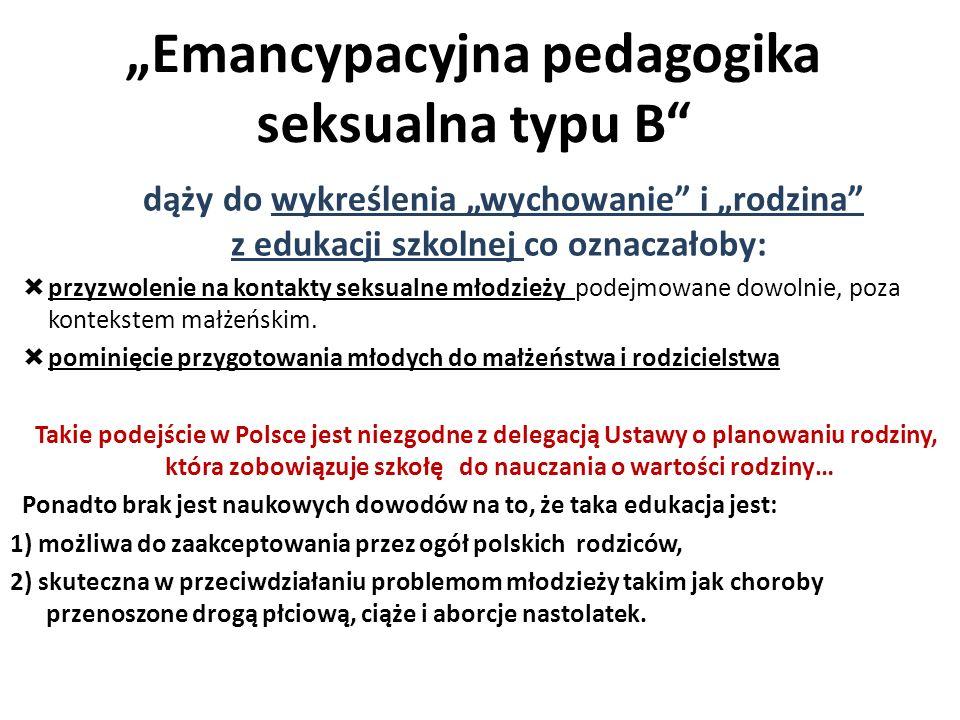 """""""Emancypacyjna pedagogika seksualna typu B"""