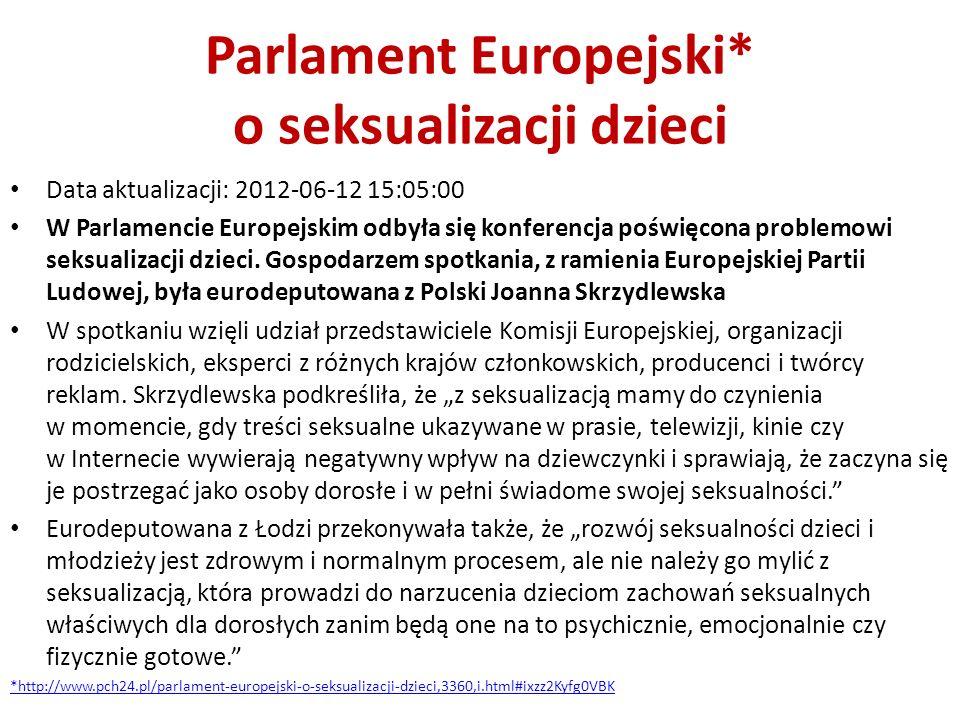 Parlament Europejski* o seksualizacji dzieci