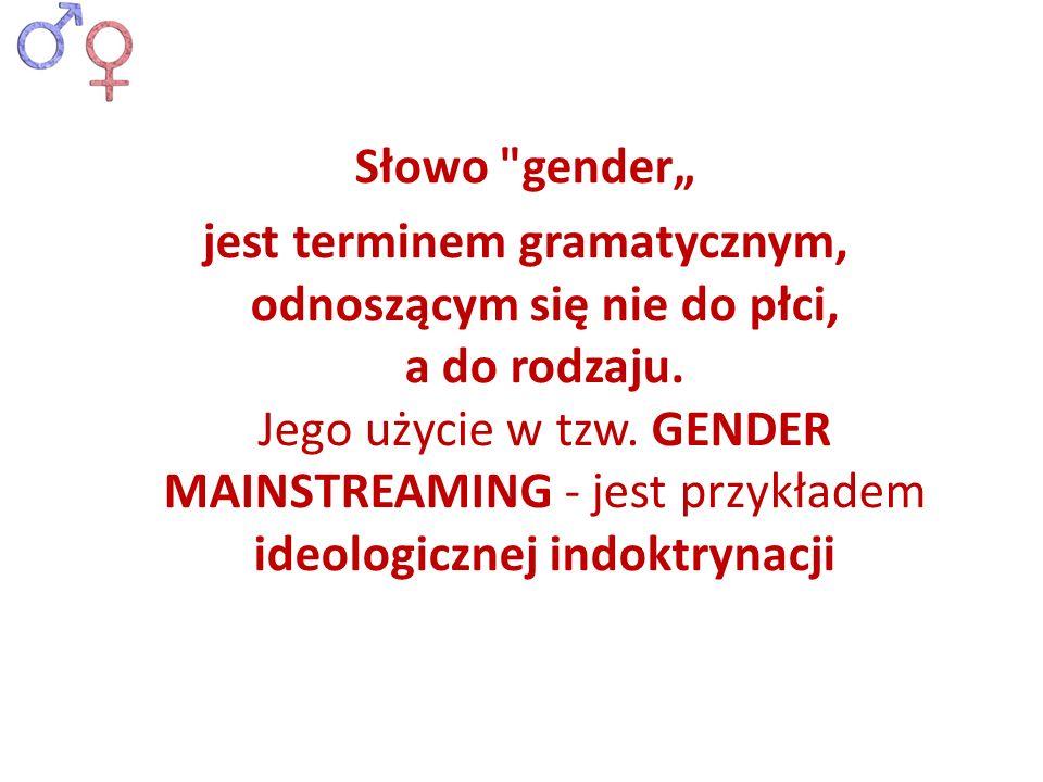 """Słowo gender"""" jest terminem gramatycznym, odnoszącym się nie do płci, a do rodzaju."""