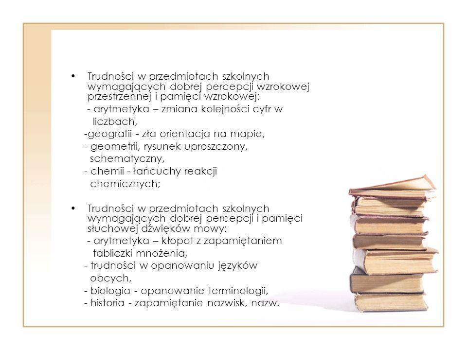 Trudności w przedmiotach szkolnych wymagających dobrej percepcji wzrokowej przestrzennej i pamięci wzrokowej: