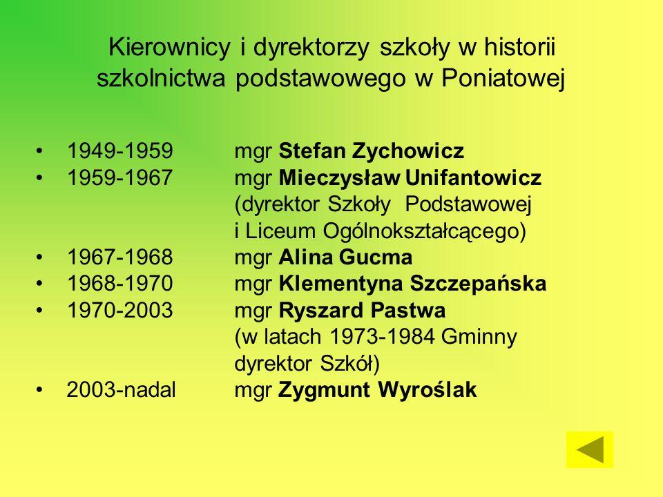 Kierownicy i dyrektorzy szkoły w historii szkolnictwa podstawowego w Poniatowej