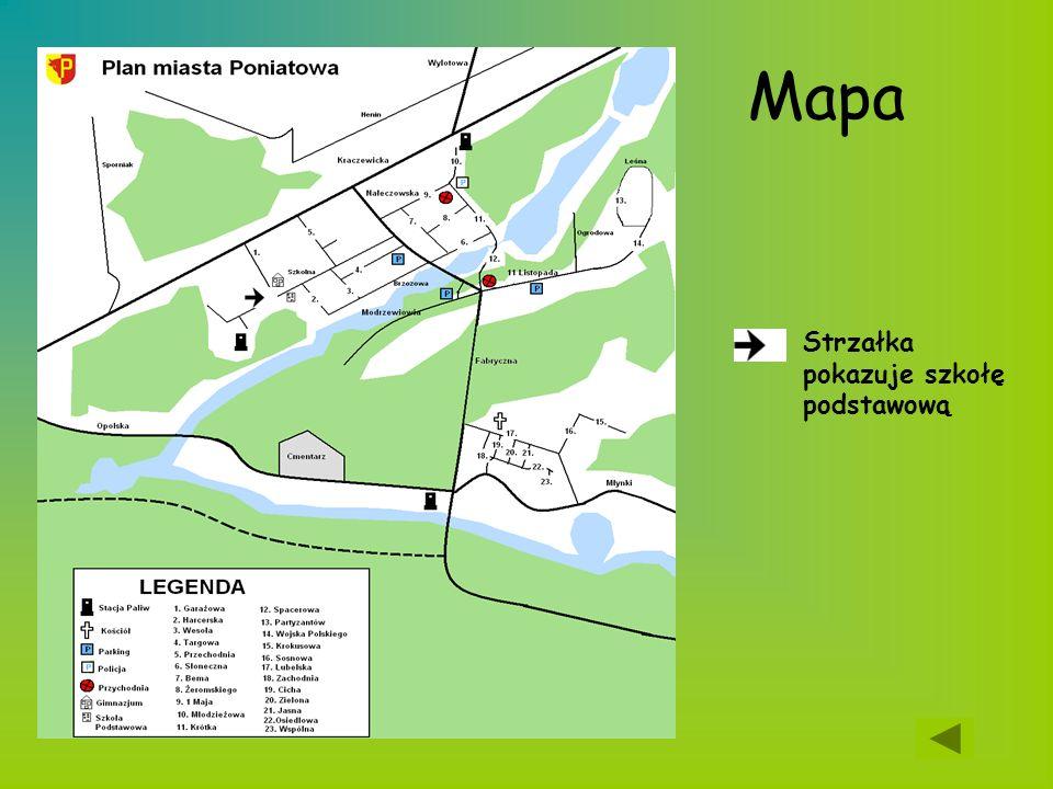 Mapa Strzałka pokazuje szkołę podstawową
