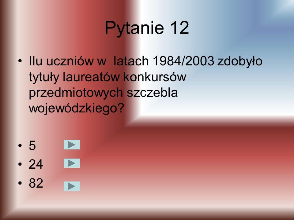 Pytanie 12 Ilu uczniów w latach 1984/2003 zdobyło tytuły laureatów konkursów przedmiotowych szczebla wojewódzkiego