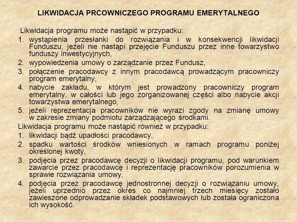 LIKWIDACJA PRCOWNICZEGO PROGRAMU EMERYTALNEGO