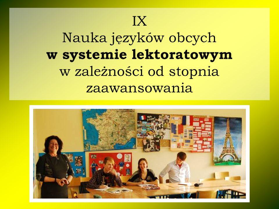 IX Nauka języków obcych w systemie lektoratowym w zależności od stopnia zaawansowania