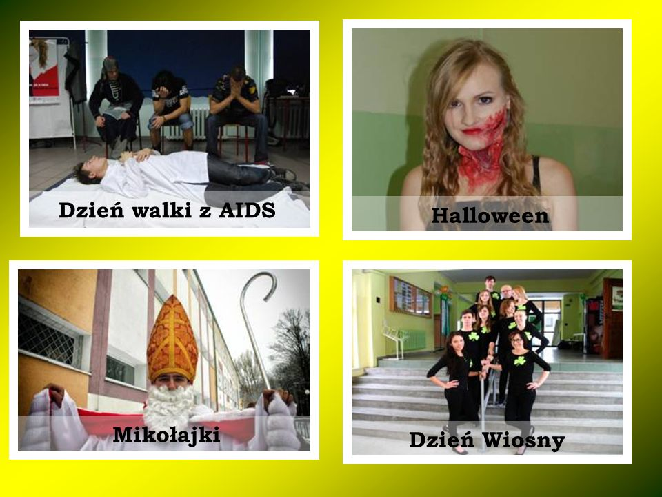 Dzień walki z AIDS Halloween Mikołajki Dzień Wiosny