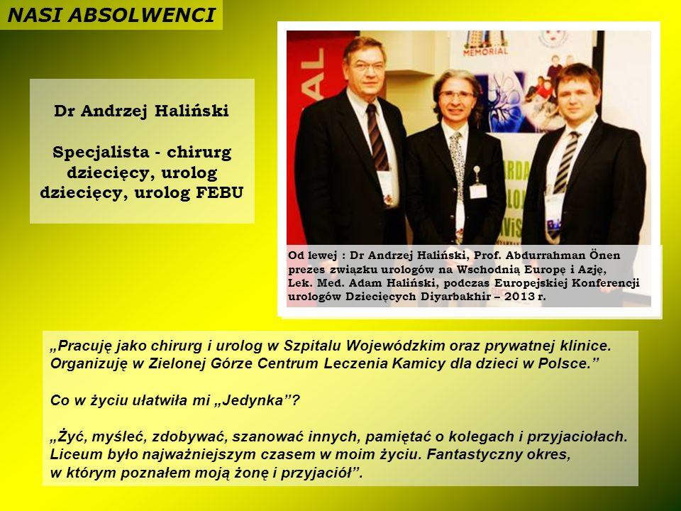 NASI ABSOLWENCI Dr Andrzej Haliński Specjalista - chirurg dziecięcy, urolog dziecięcy, urolog FEBU.