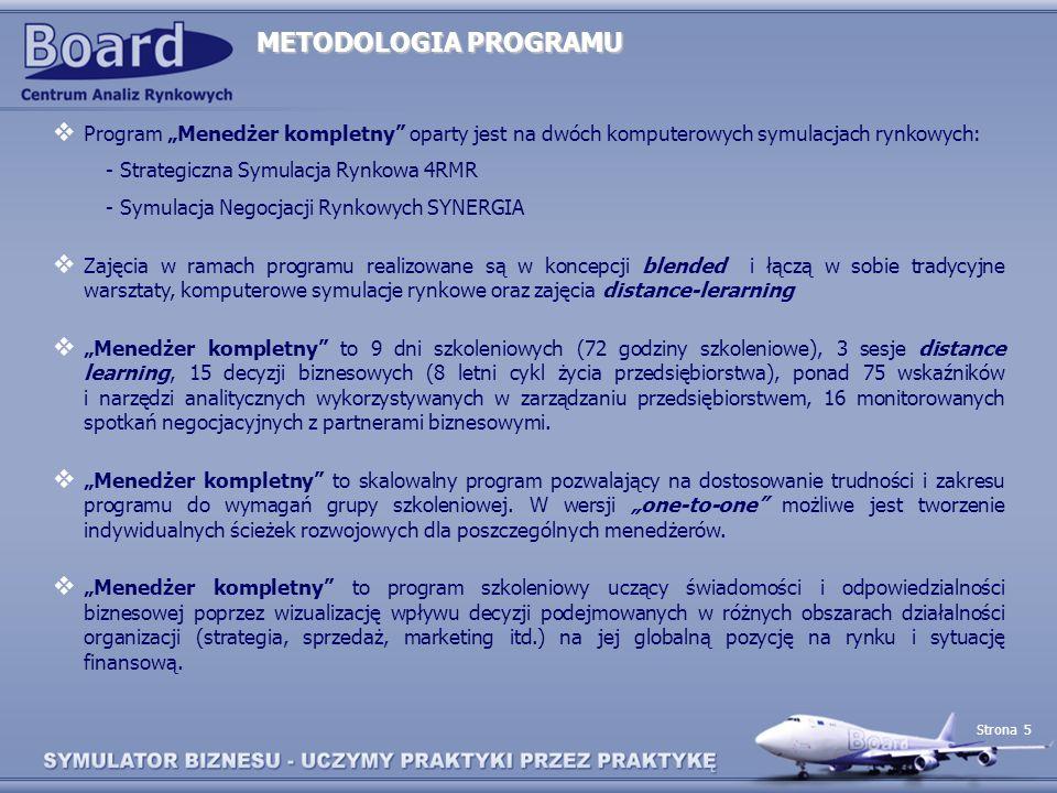 """METODOLOGIA PROGRAMU Program """"Menedżer kompletny oparty jest na dwóch komputerowych symulacjach rynkowych:"""
