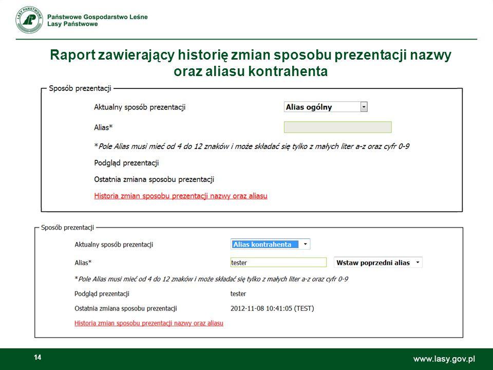 Raport zawierający historię zmian sposobu prezentacji nazwy oraz aliasu kontrahenta