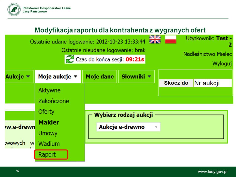 Modyfikacja raportu dla kontrahenta z wygranych ofert