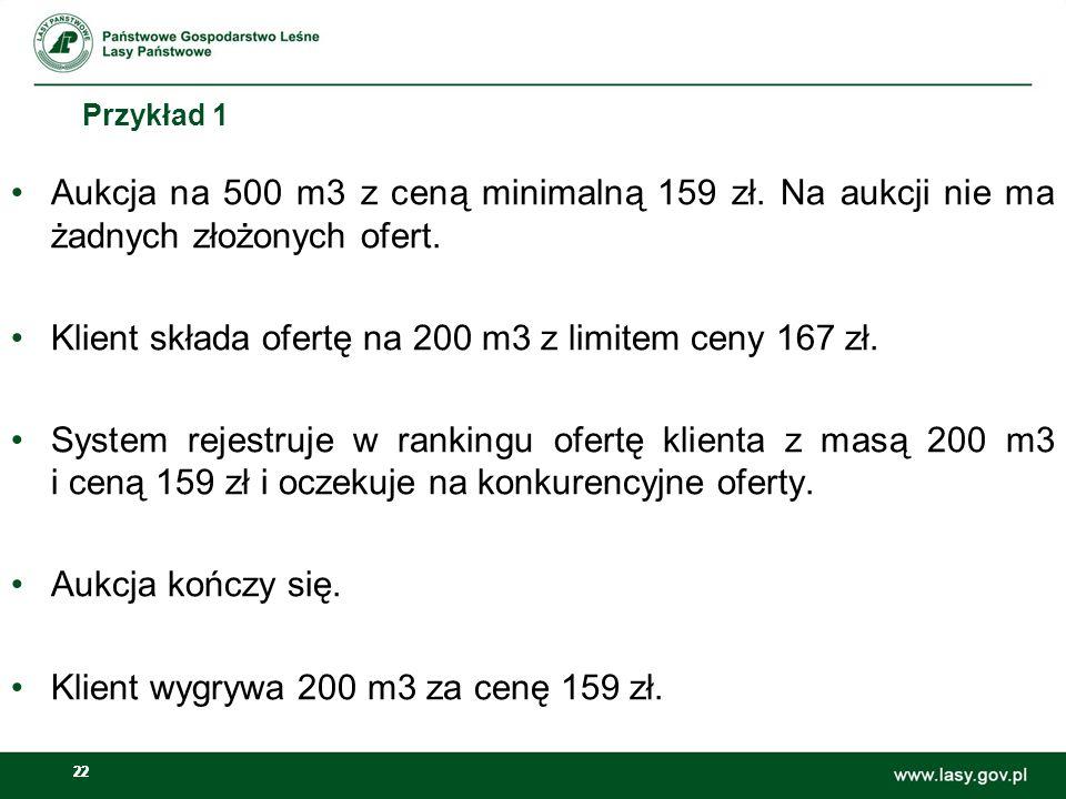 Klient składa ofertę na 200 m3 z limitem ceny 167 zł.