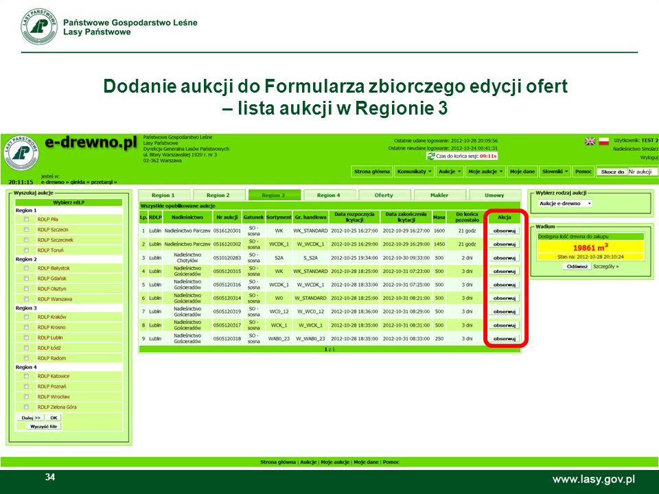 Dodanie aukcji do Formularza zbiorczego edycji ofert – lista aukcji w Regionie 3