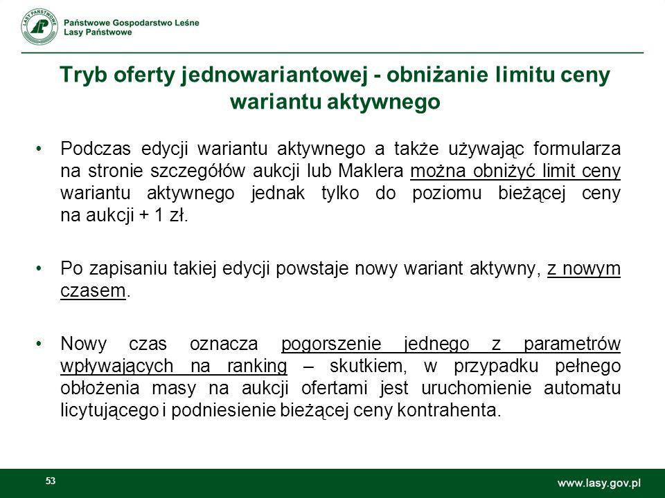 Tryb oferty jednowariantowej - obniżanie limitu ceny wariantu aktywnego