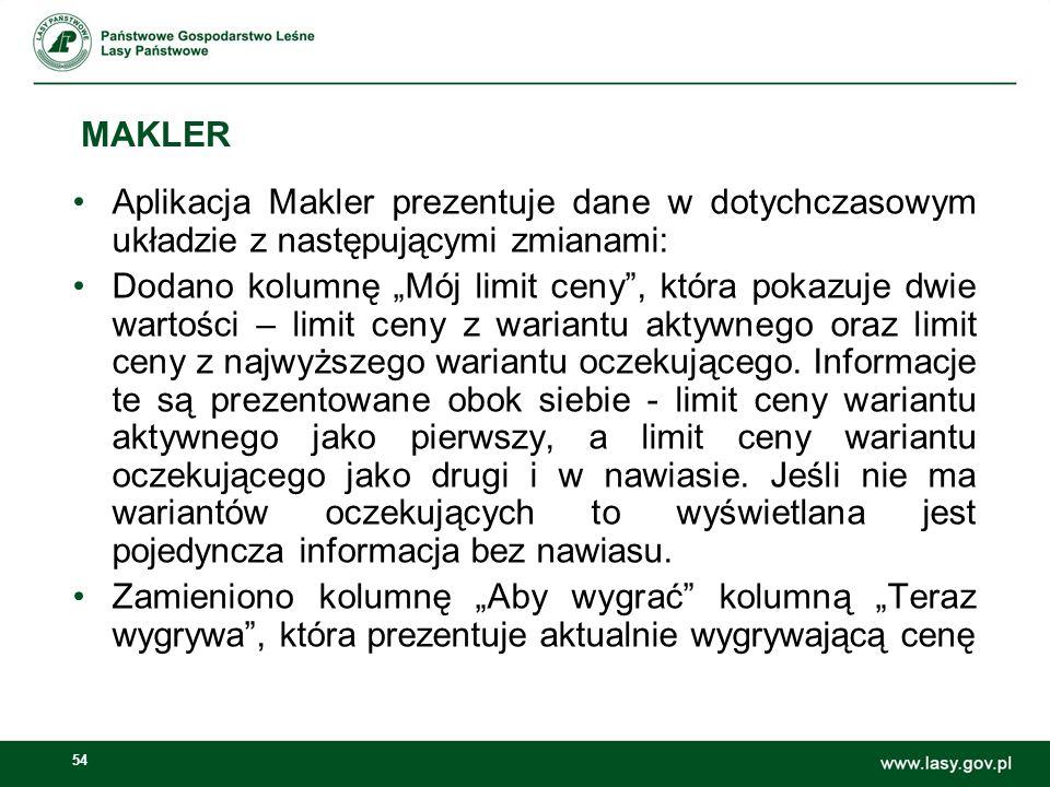 MAKLER Aplikacja Makler prezentuje dane w dotychczasowym układzie z następującymi zmianami: