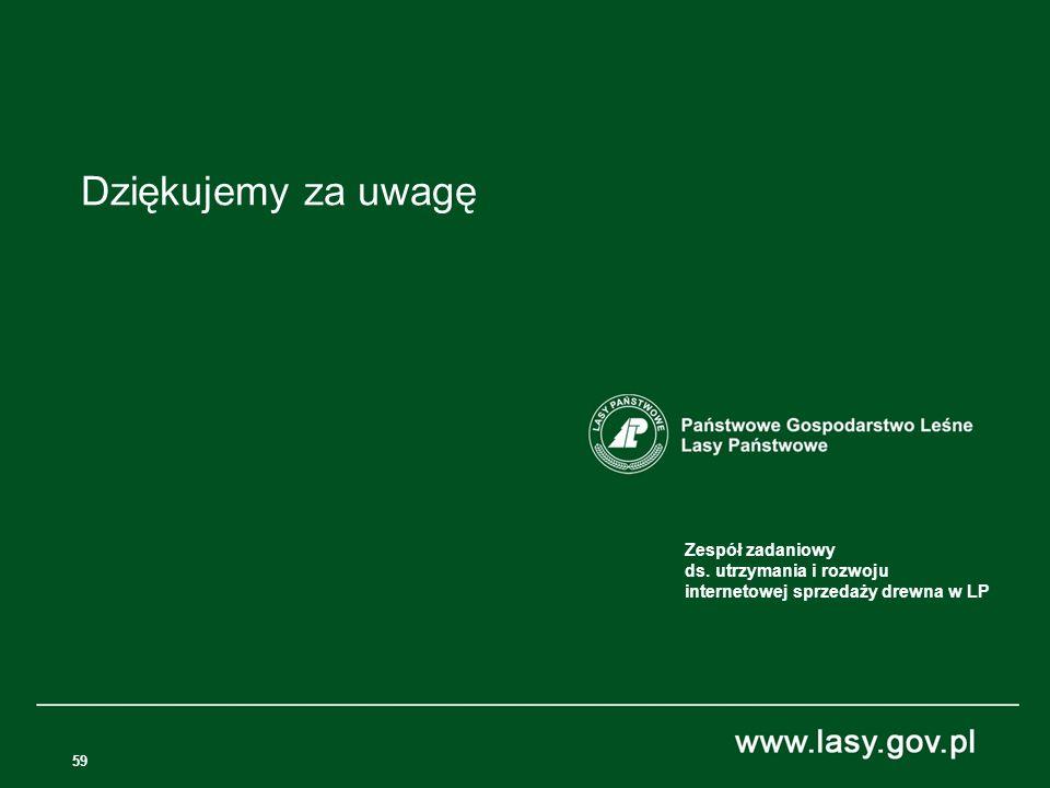Dziękujemy za uwagę Zespół zadaniowy ds. utrzymania i rozwoju internetowej sprzedaży drewna w LP