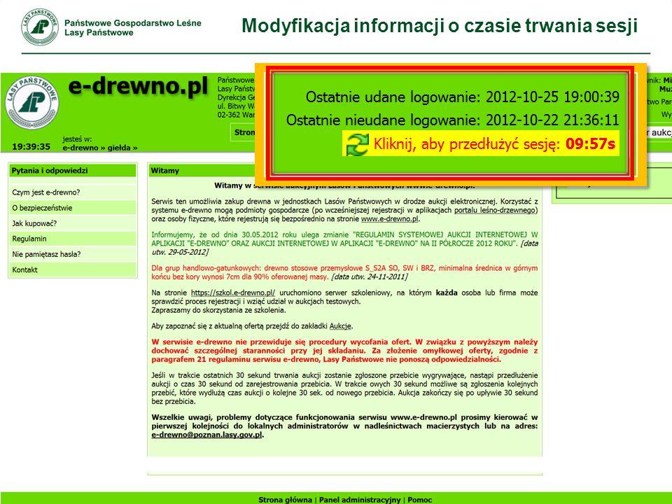 Modyfikacja informacji o czasie trwania sesji