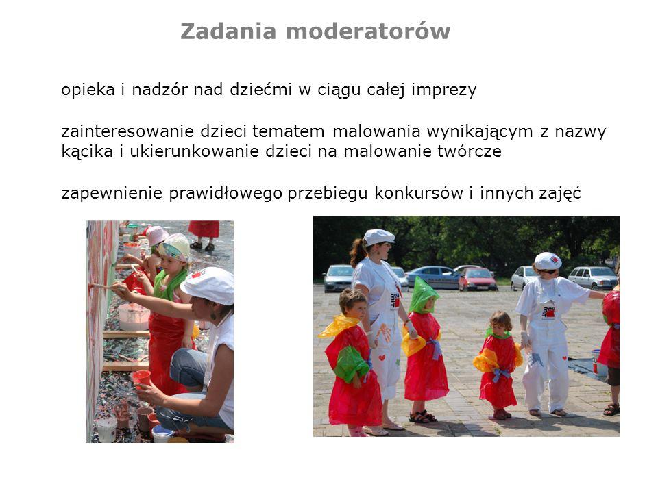 Zadania moderatorów opieka i nadzór nad dziećmi w ciągu całej imprezy