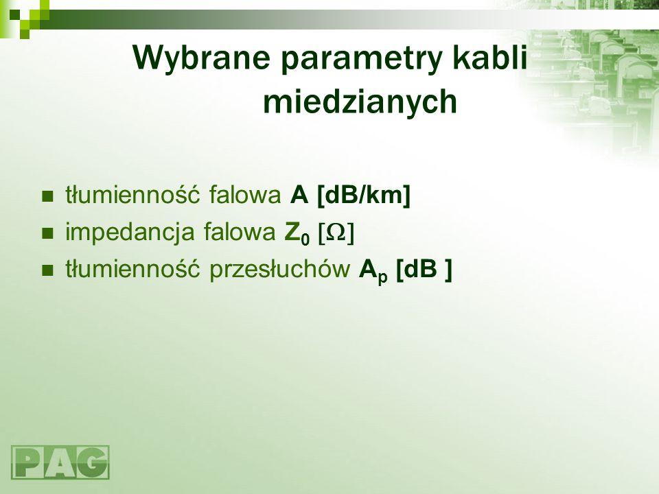 Wybrane parametry kabli miedzianych