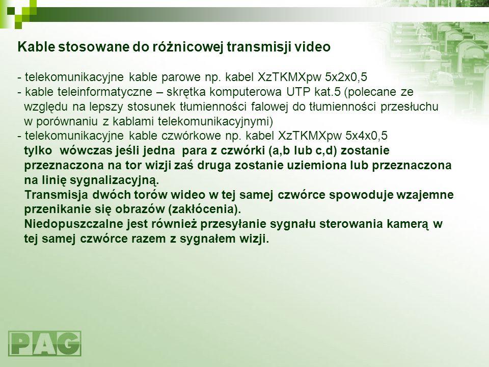 Kable stosowane do różnicowej transmisji video - telekomunikacyjne kable parowe np.