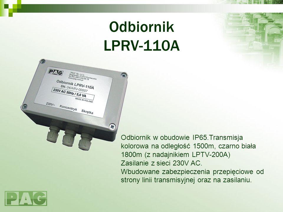 Odbiornik LPRV-110A Odbiornik w obudowie IP65.Transmisja kolorowa na odległość 1500m, czarno biała 1800m (z nadajnikiem LPTV-200A)